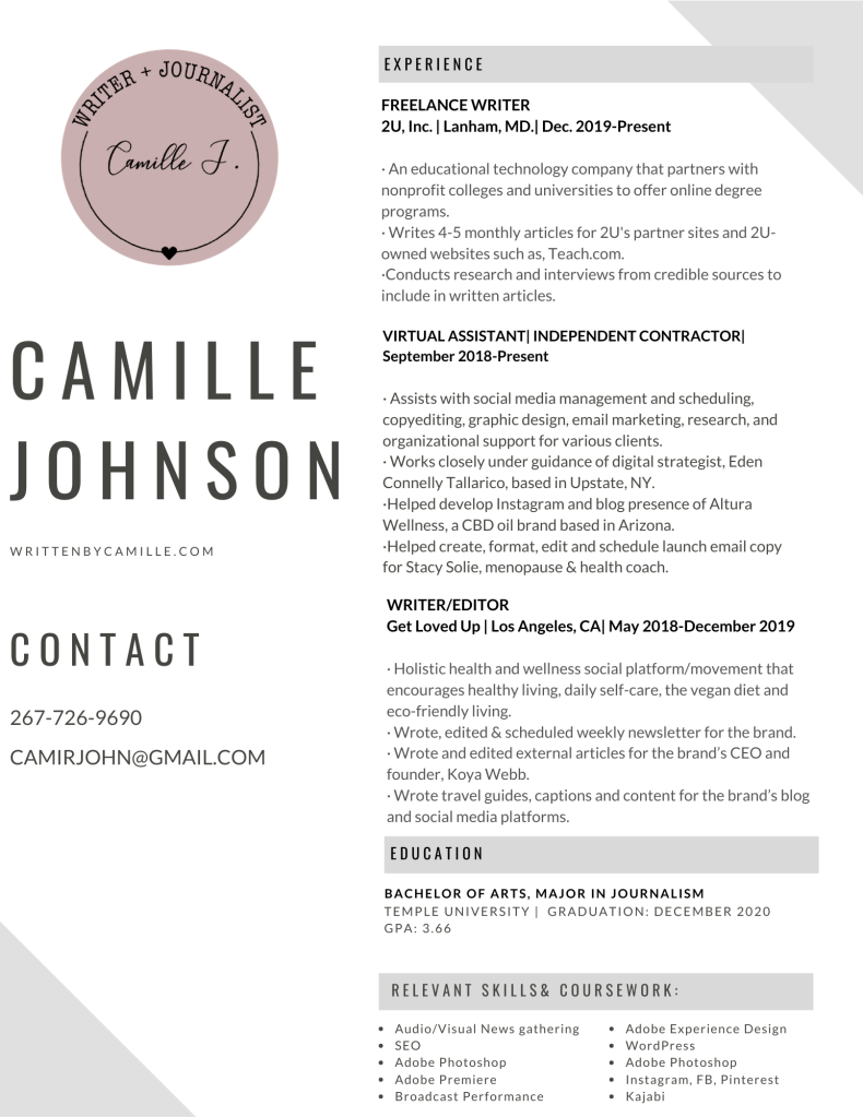 My Resume Camille Johnson Content Writer Creator